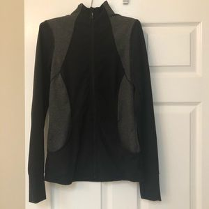 Tops - Black and Gray Pinstripe Athletic Zip Up